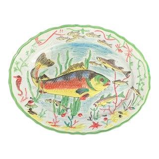 Large Italian Hand Painted Ocean Fish Platter For Sale