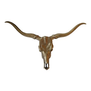 Vintage Brass Longhorn Steer Skull Wall Hanging For Sale