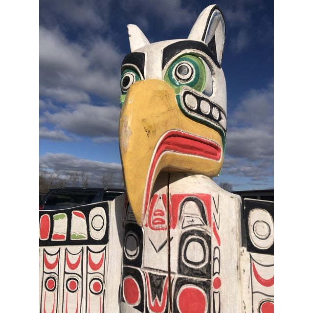 Tribal Hand Carved & Painted Winged Totem Pole For Sale - Image 3 of 13