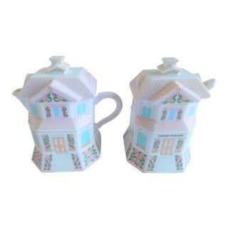 Vintage Lenox Village Porcelain Sugar & Creamer Set For Sale