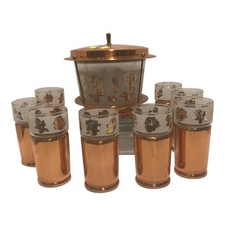 1950s Mid Century Modern Copper Detailed Ice Tea Set - 9 Pieces