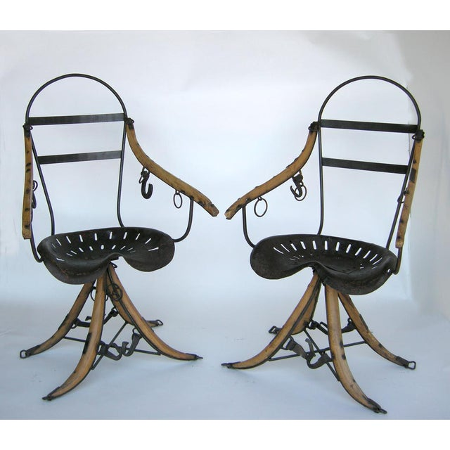 Mid-Century Modern Belgian Tractor Seat Folk Art Chairs For Sale - Image 3 of 11