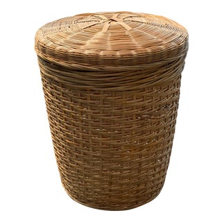 Vintage Woven Tall Basket With Lid For Sale