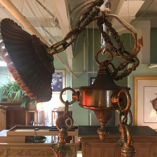Antique Bronze French Art Deco Chandelier With Lalique Style Globes For Sale - Image 5 of 10