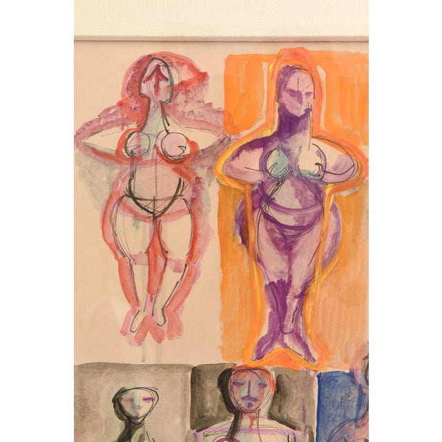 Signed Chamberlin Vintage One of Kind Nude/Abstract/ Figure Watercolor Custom Framed - Image 2 of 9