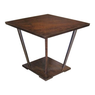 French Art Deco Diamond Shaped Walnut Side Table With Nickel Supports For Sale
