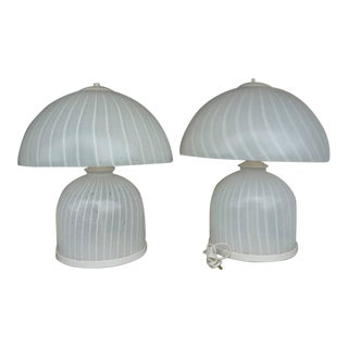 1970's Italian Murano Glass Mushroom Lamps - a Pair For Sale