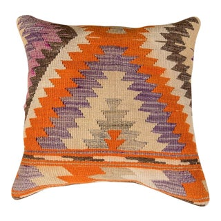 Vintage Designer Wool Multicolor Sofa Pillow For Sale