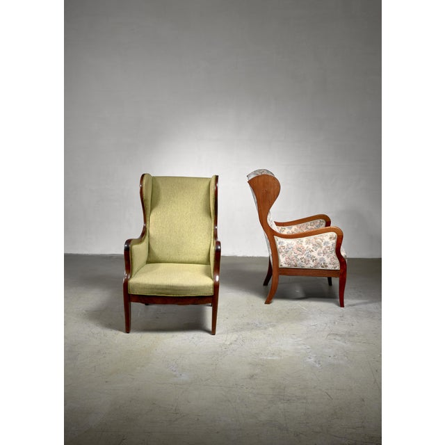 1940s Frits Henningsen Pair Wingback Lounge Chairs, Denmark, 1940s For Sale - Image 5 of 6