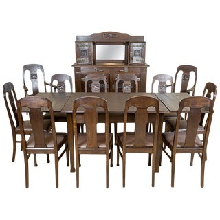 Art Nouveau Oak Dining Room Set, circa 1910-1920 For Sale