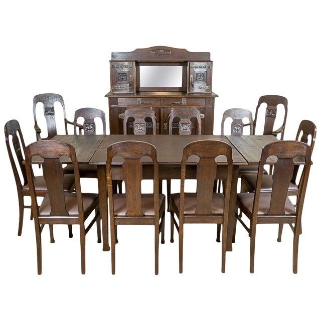 Art Nouveau Oak Dining Room Set, circa 1910-1920 For Sale
