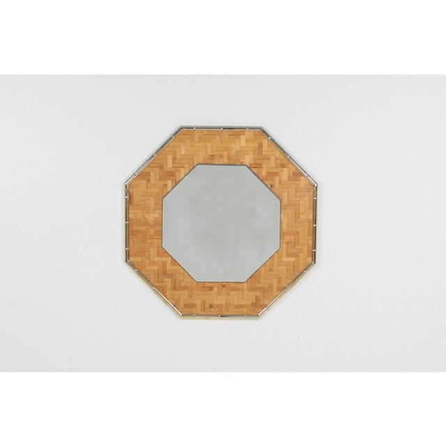 Brass and Bamboo Octagonal Mirror For Sale - Image 4 of 7
