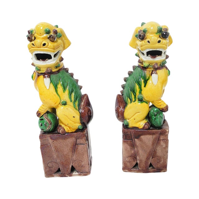 Sancai Chinese Export Foo Dogs - Pair - Image 1 of 7
