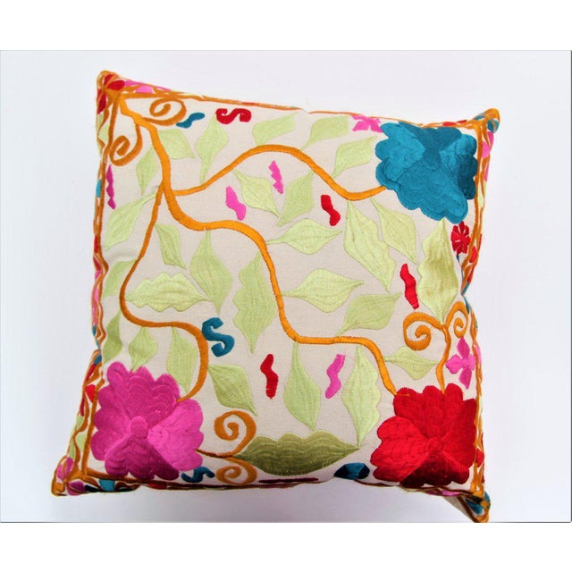 Handmade Moroccan Cactus Silk Embroidered Pillow - Image 2 of 3