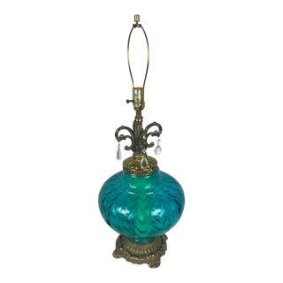 Vintage Mid-Century Hollywood Regency Blue Glass Lamp For Sale