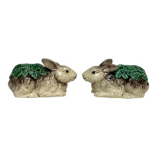 Vintage the Haldon Group Ceramic Rabbit Candleholders - a Pair For Sale