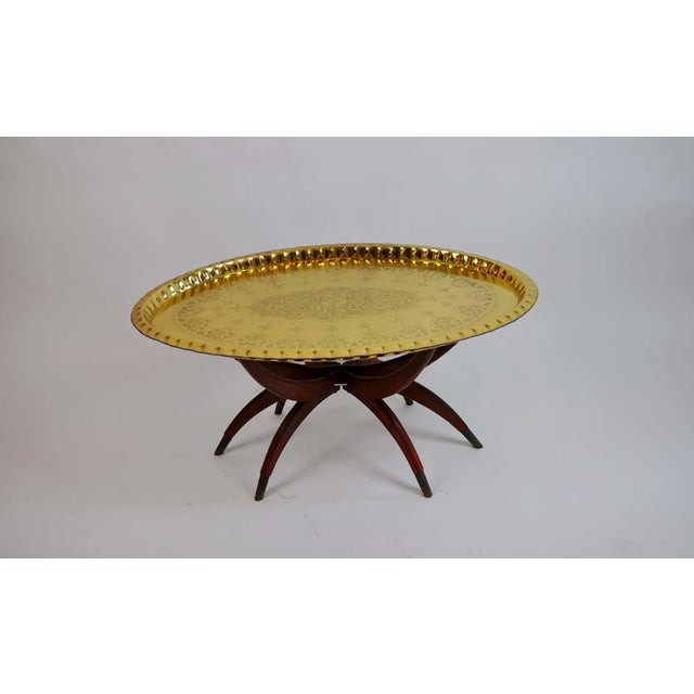 Gold Boho Oval Brass Tray Coffee Table For Sale - Image 8 of 8