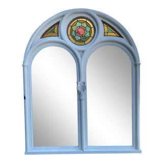 Arched Stained Glass Mirror With Stained Glass For Sale