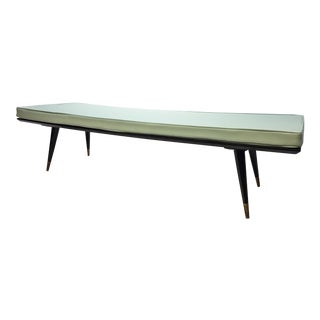 Mid Century Modern George Nelson Style Long Bench with Light Blue Upholstery