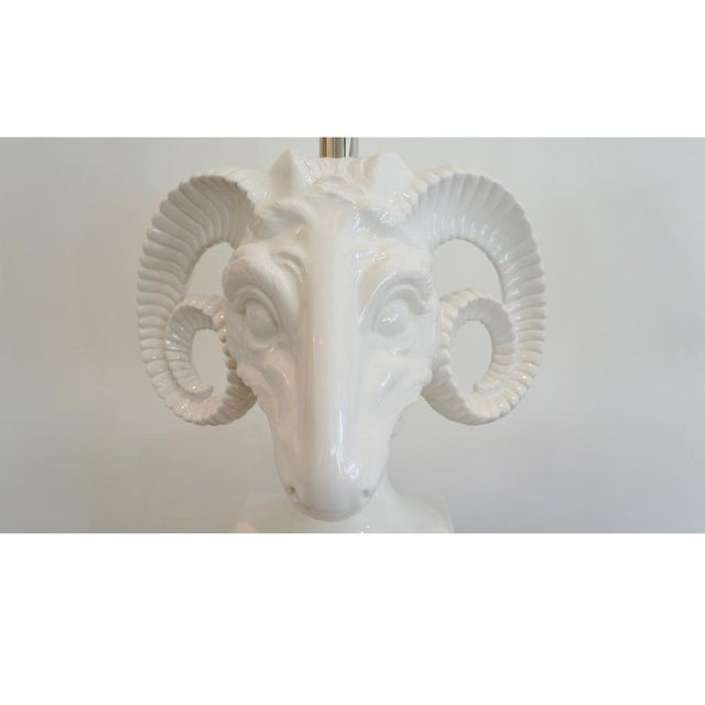 Pair Ceramic Rams Head Table Lamps - Image 5 of 9