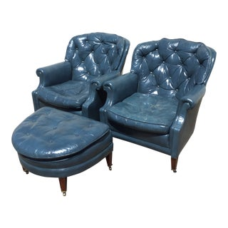 1970s Vintage Blue Leather Chesterfield Club Chairs & Ottoman Set- 3 Pieces For Sale