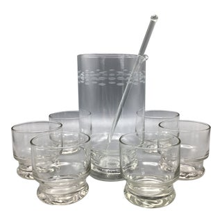 Etched Crystal Martini Pitcher With Glasses Stir Stick and 6 Stemless Martini Glasses - Set of 8 For Sale