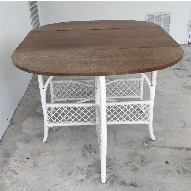 Wicker & Oak Drop-Leaf Dining Table For Sale - Image 4 of 10