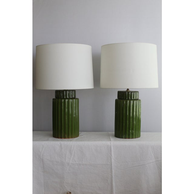 Transitional Style Ceramic Table Lamps - a Pair For Sale - Image 4 of 10