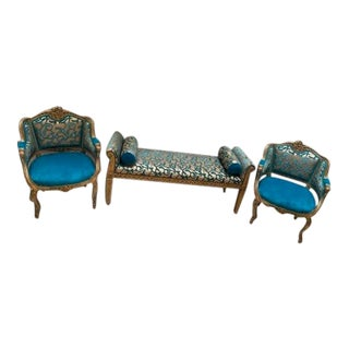 Antique Victorian Carved Chairs and Bench - Set of 3 For Sale