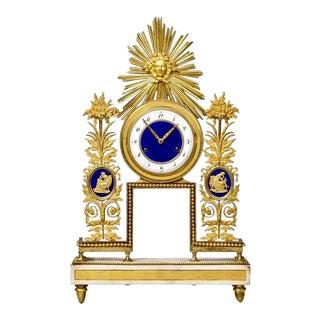 Late 18th Century French Sunburst Motif Ormolu and Enamel Clock For Sale
