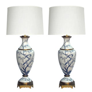 French Porcelain Blue and White Hand-Painted Baluster-Form Lamps- a Pair For Sale
