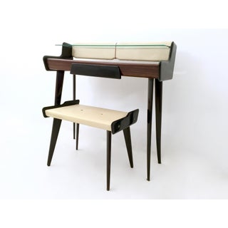 Ebonized Beech, Glass and Skai Console Table with Pouf, Italy, 1950s