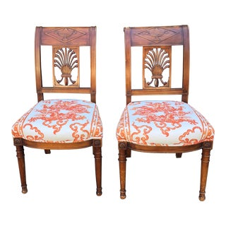 Pair of Antique Continental Carved Walnut Chairs W Orange Dragon Motif For Sale