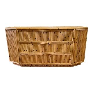 1980's Vintage Bamboo Dresser For Sale