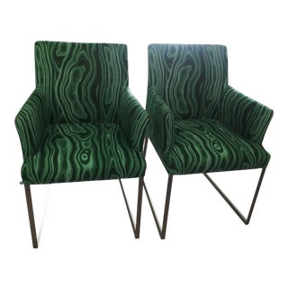 Malachite Upholstered Arm Chairs - A Pair