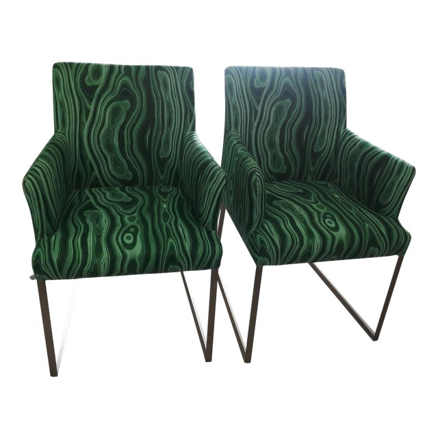 Malachite Upholstered Arm Chairs - A Pair - Image 1 of 5