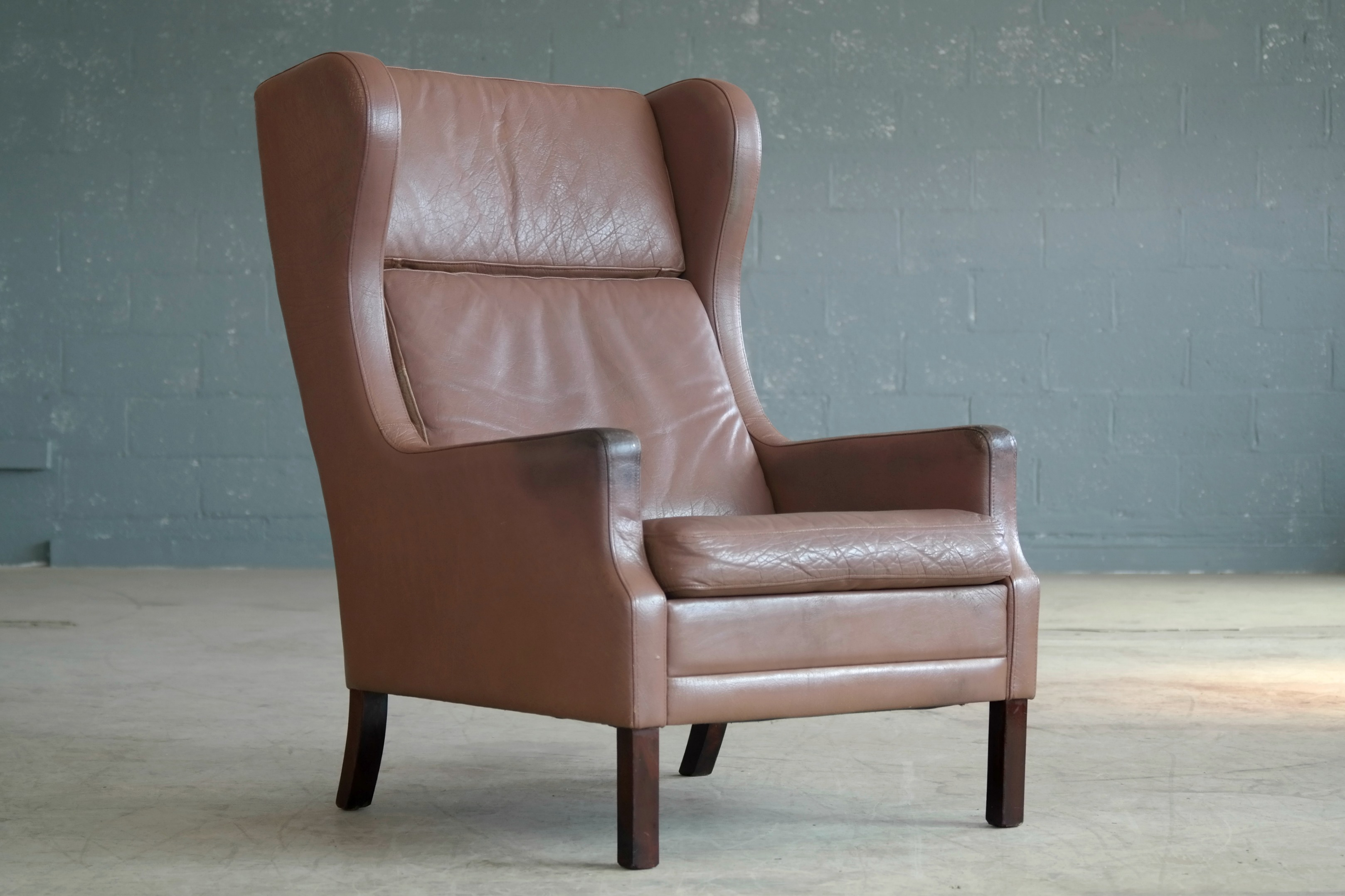Borge Mogensen Style Leather Wingback Chair In Light Brown Leather Made In  Denmark 1960u0027s Seat Height