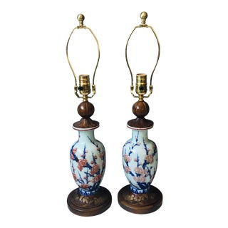 Antique Cherry Blossom Pottery Lamps - a Pair