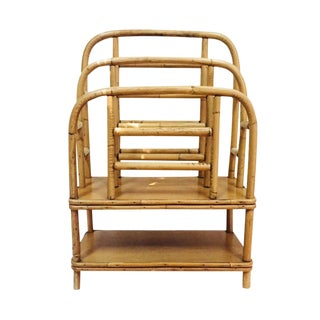 Mid Century Bent Bamboo Magazine Stand Tiered Tiki Rack For Sale