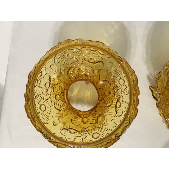 Fenton Amber Poppy Glass Lamp Shades- A Pair - Image 8 of 8