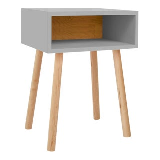 Minimo Modern Kids Nightstand in White & Solid Maple For Sale