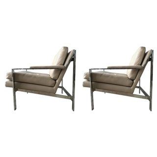 Pair of Cy Mann Leather and Chrome Armchairs in Milo Baughman Style For Sale
