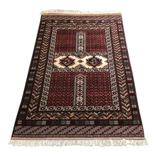 Vintage Persian Hand-Knotted Area Rug - 6′1″ × 3′10″ For Sale