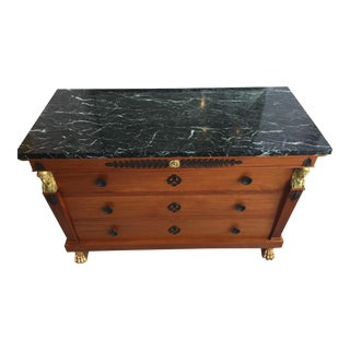 19th Century Neoclassical Empire Revival Italian 3-Drawer Chest of Drawers Forest Green Marble Top For Sale
