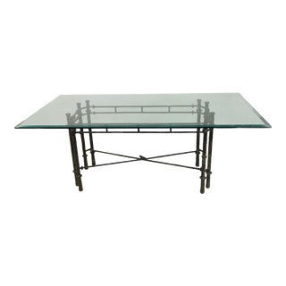 MidCentury Iron Dining Table with Glass Top For Sale