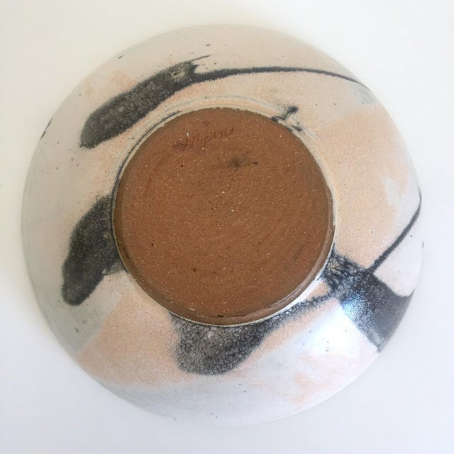 Vintage Mid Century Modern Studio Pottery Abstract Expressionist Signed Ceramic Bowl For Sale - Image 12 of 13