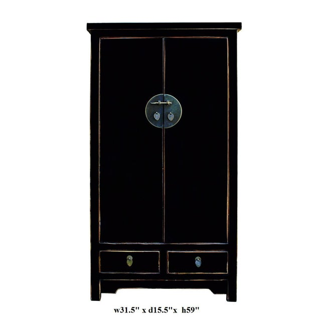 Chinese Distressed Black Storage Cabinet - Image 5 of 5