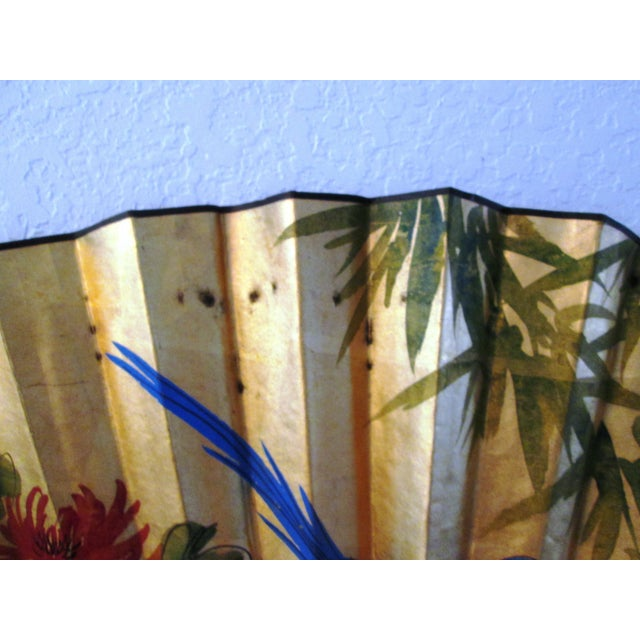 Asian Blue Bird & Floral Gold Paper Wall Fan - Image 8 of 8