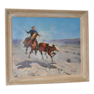 """Cowboy """"Roping a Runaway"""" American West Oil Painting by K. Vetillo For Sale"""