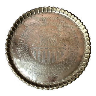 Vintage Moroccan Engraved Brass Tray With Pie Crust Edge For Sale